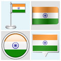 India flag set of sticker button label and fla various flagstaff Stock Images