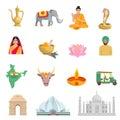 India Flat Icons Set
