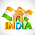 India gate with tricolor flag illustration of Royalty Free Stock Photography