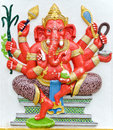India god ganesha or god of success image in stucco low relief technique at wat samarn temple chachoengsao thailand Royalty Free Stock Photo