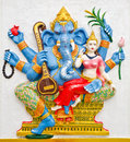 India god ganesha or god of success image in stucco low relief technique at wat samarn temple chachoengsao thailand Stock Photography