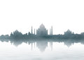 India landmark taj mahal panorama with fog agra Stock Photos