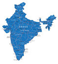 India map highly detailed vector of with administrative regions main cities and roads Royalty Free Stock Photos