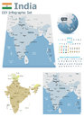 India maps with markers set of the political and symbols for infographic Stock Photos