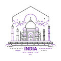 India - modern vector line travel illustration