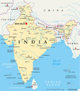 India Political Map Royalty Free Stock Photo