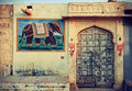 India rajasthan the decoration of the facade of the house Stock Photography