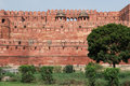 India red fort in agra outside curtain walls with defensive towers uttar pradesh Stock Images