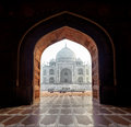India taj mahal indian palace in agra tajmahal arch view Royalty Free Stock Image
