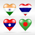 India, Thailand, Laos and Bangladesh heart flag set of Asian states