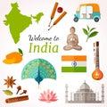 India travel banner. Vector flat style flyer design.