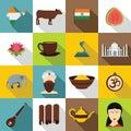 India travel icons set, flat style