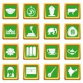 India travel icons set green