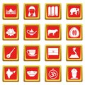 India travel icons set red