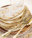 India vegetarian food plain chapatti roti or flat bread indian on dining table Stock Photography