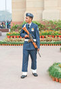 An Indian Air Force guard on duty. Stock Photos