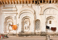 Indian architecture example. Old walls of indian family house with carvings and decoration, India Royalty Free Stock Photo