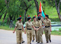 Indian army women personnel with flag a team of security walk in a group happy after completion of task shot after the Stock Photos