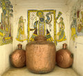 Indian artwork & copper vessels - Jaipur - India Royalty Free Stock Photo