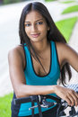 Indian Asian Young Woman Girl Fitness Cycling Royalty Free Stock Photo