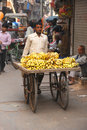 Indian banana salesman delhi india april th an plies his good in the narrow streets of old Royalty Free Stock Image
