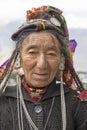 Indian beggar woman on the street in Leh, Ladakh. India