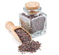 Indian Black salt, Kala namak, in a glass bottle Royalty Free Stock Photo
