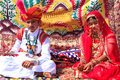 Indian boy and girl in traditional dress taking part in desert f festival jaisalmer rajasthan india Stock Photo
