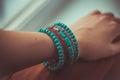 Indian bracelet with stone blue Royalty Free Stock Photos