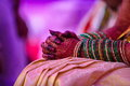 Indian bride bangles bridal colours before getting merrage Royalty Free Stock Images