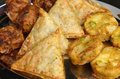Indian buffet food samosa onion bhaji and pakora on serving tray Royalty Free Stock Photography