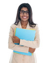 Indian business woman holding office file folder businesswoman portrait of beautiful asian female model standing isolated on white Stock Photo