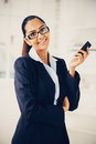 Indian business woman using mobile phone happy beautiful Stock Photo