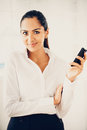 Indian business woman using mobile phone happy beautiful Royalty Free Stock Image