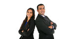 Indian businessman and businesswoman in group standing with folded hands Royalty Free Stock Photo