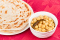 Indian chana masala and parotta homemade bread served with delicious it is prepared using dal chickpea various spices Royalty Free Stock Images
