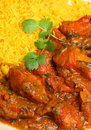 Indian chicken curry with pilau rice tikka jalfrezi Royalty Free Stock Images