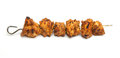Indian chicken tikka kebab on metal skewer Royalty Free Stock Images