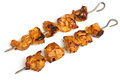 Indian chicken tikka kebabs isolated on white background Stock Photography