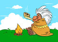 Indian chief calumet cartoon illustration Royalty Free Stock Photo