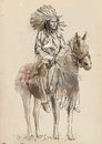 Indian chief sitting on a horse a hand drawn illustration converted into vector vector is editable in layers Stock Photos