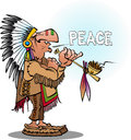 An indian chief smoking  a pipe blowing peace Royalty Free Stock Photo