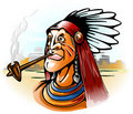 Indian chief smoking tube Royalty Free Stock Image