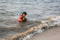 Indian children are swimming in the sea Royalty Free Stock Images