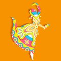 Indian classical dancer illustration of performing bharatnatyam Stock Image