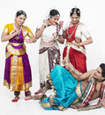 Indian classical dancers having Royalty Free Stock Photo