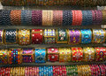 Indian colored glass bangles Stock Photo