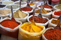 Indian colored spices at anjuna flea market in goa india Royalty Free Stock Image