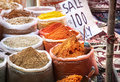 Indian colorful spices sale of at anjuna flea market in goa india Royalty Free Stock Photos