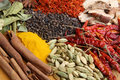 Indian cookery spices and food ingredients various including tumeric cinnamon saffron cardamoms dried red chillies Stock Photography